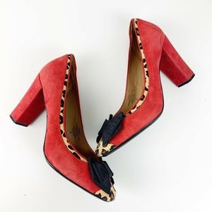 Isaac Mizrahi Red Suede Leopard Print Unique Heels